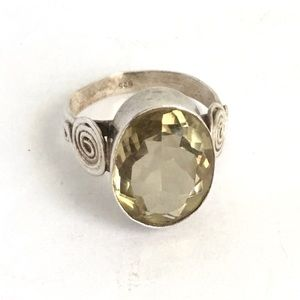 Vintage Lemon Yellow Quartz Ring Sterling Silver